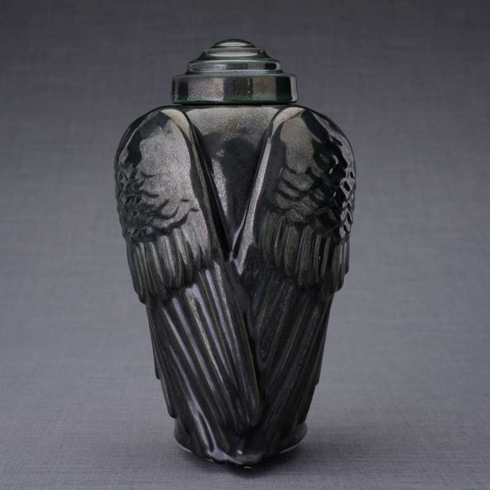 Angel Wings Ceramic Urn - Black Melange Finish