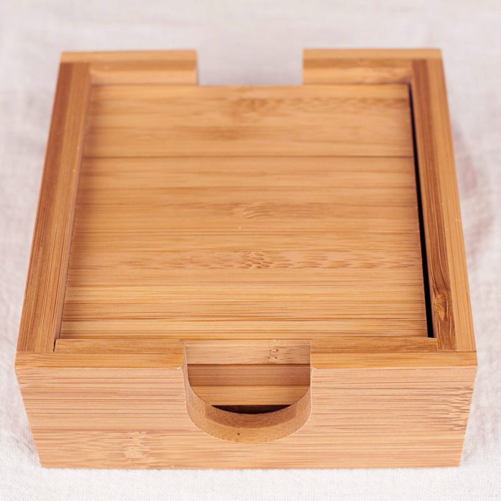 Set of Four Large Bamboo Coasters with Matching Holder