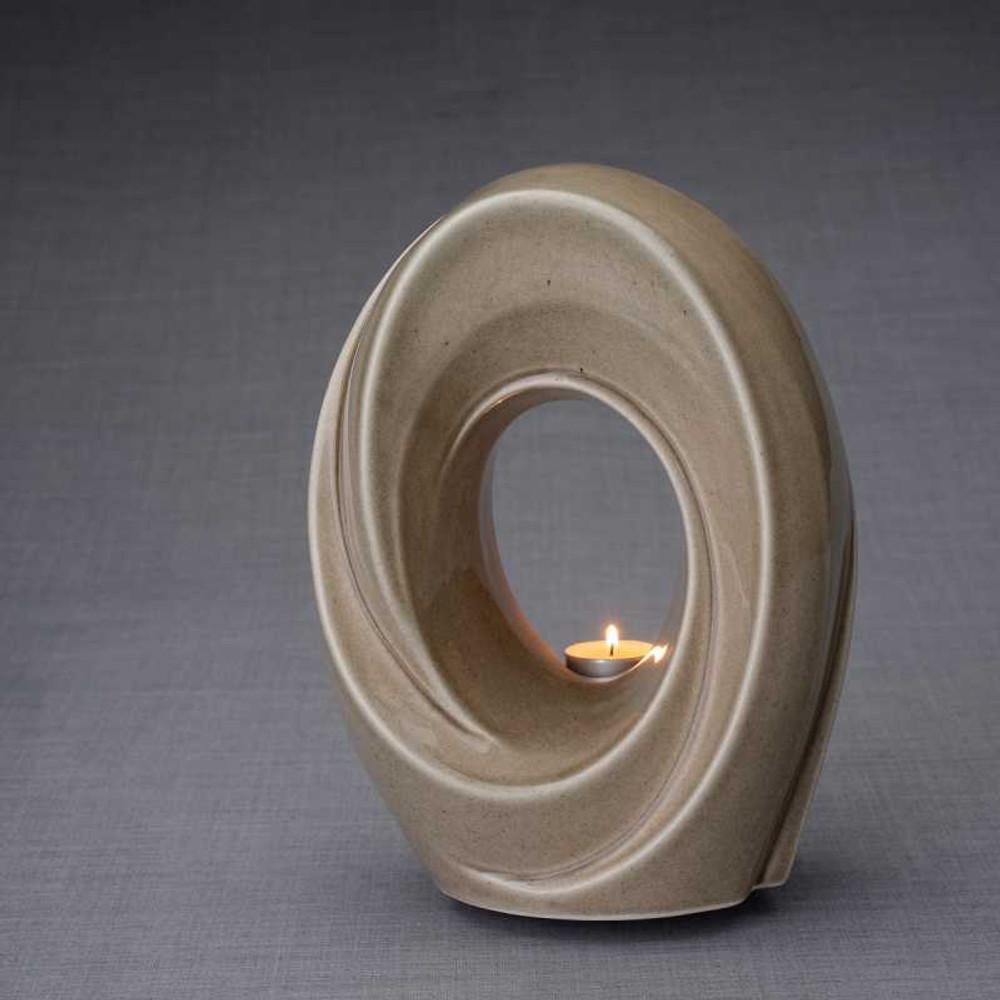 Tea Light Memorial Ceramic Cremation Urn in Beige Gray