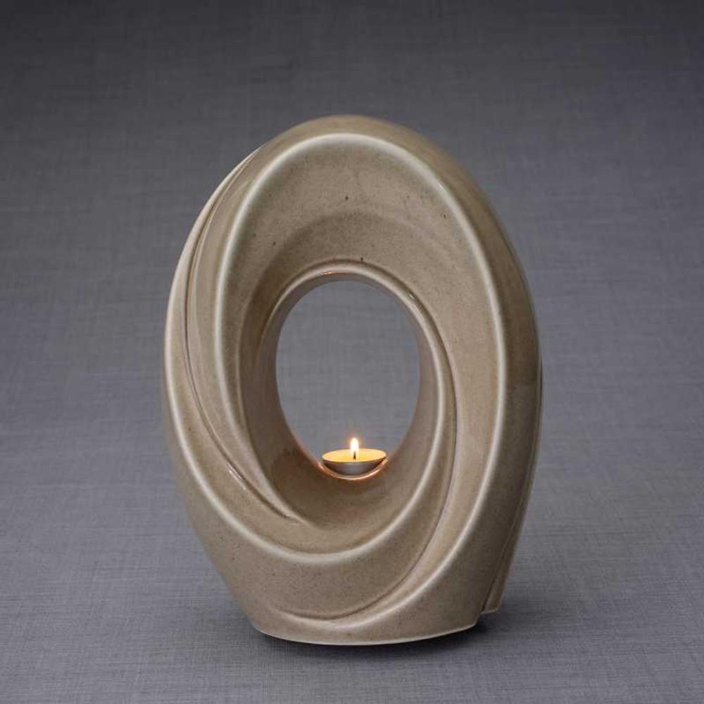 Ceramic Art Cremation Urns - Beige Gray - Passage