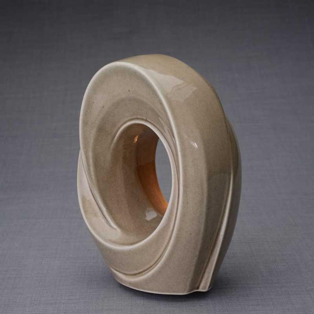 Beige Gray Cremation Urn - Ceramic