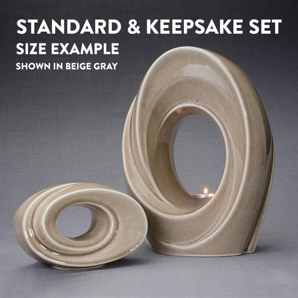 Size Comparison - Standard Adult Urn & Small Keepsake Set (Shown in Beige Gray)