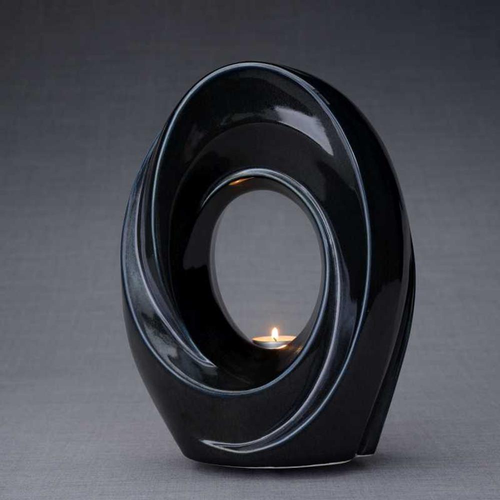 Tea Light Memorial Ceramic Cremation Urn in Black Gloss
