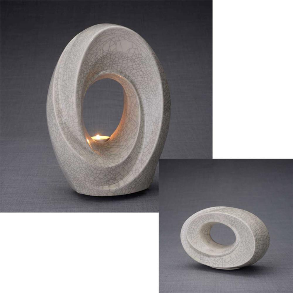 Adult urn with matching smaller keepsake cremation urn