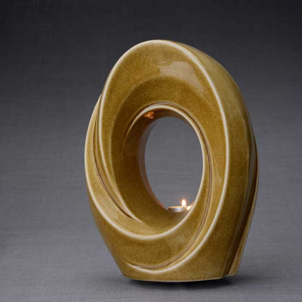 Tea Light Memorial Ceramic Cremation Urn in Dark Sand