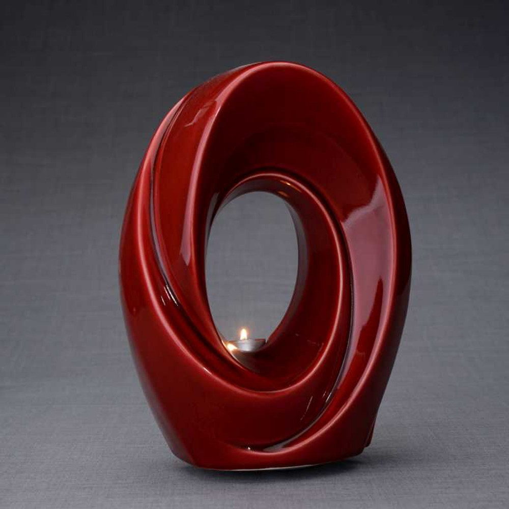 Passage - Red Ceramic Art Memorial Urn with Tea Light Candle