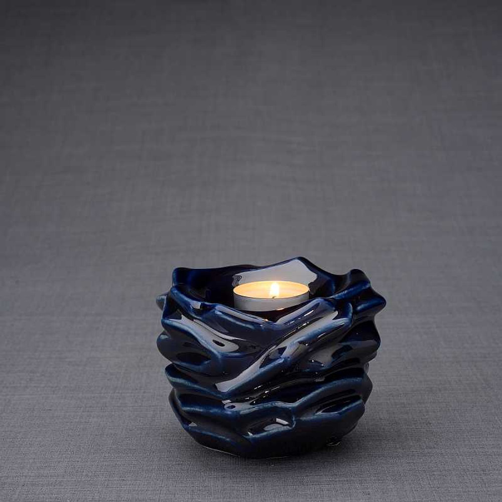 Radiance Tealight Candle Small Cremation Urn in Cobalt