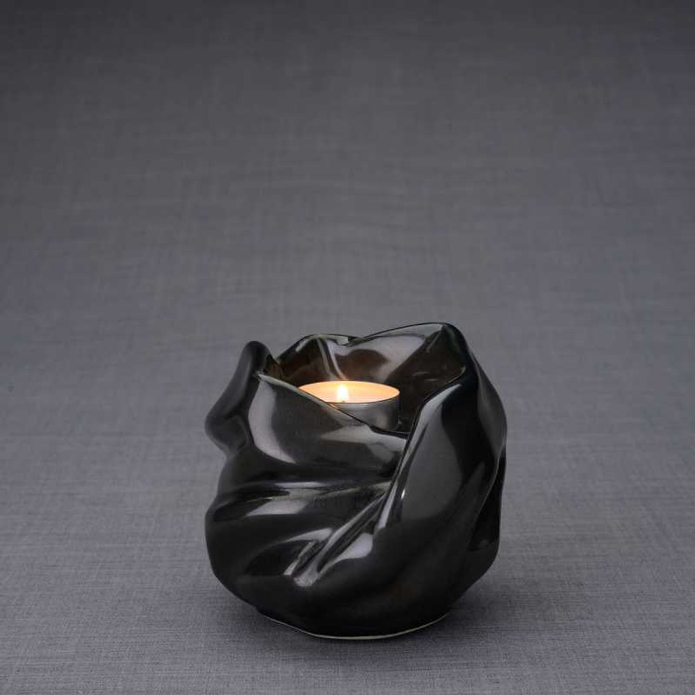 Luminous Tealight Candle Small Cremation Urn in Black Gloss
