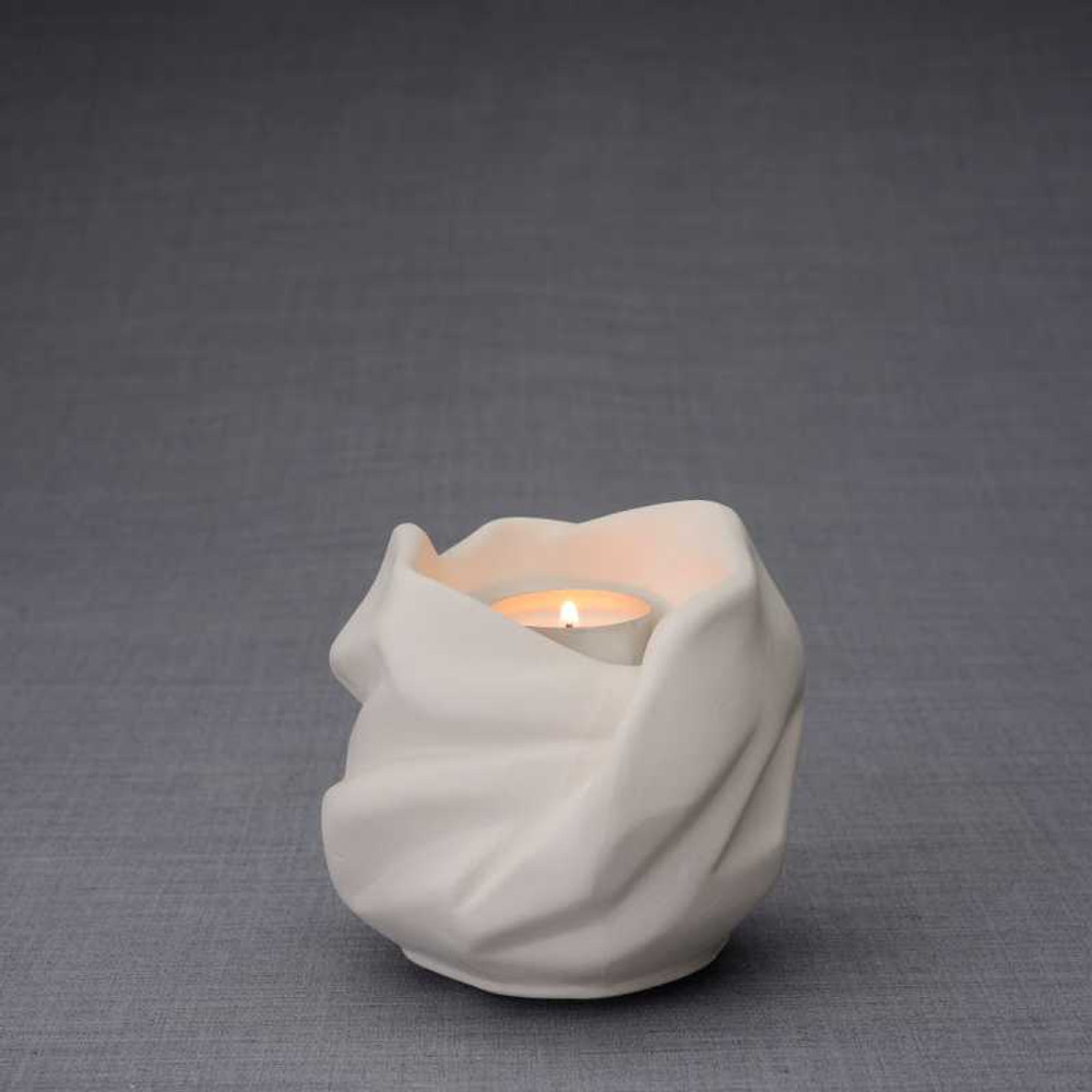 Luminous Tealight Candle Small Cremation Urn in Unlgazed Finish