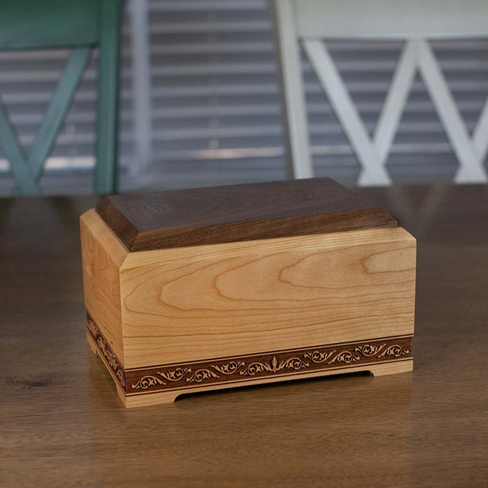 Premium wood cremation urn made in the USA