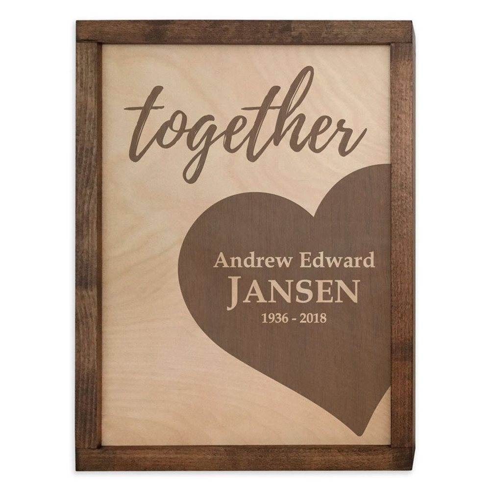 Together Forever Hearts as One Wall Mounted Wood Companion Urn Set