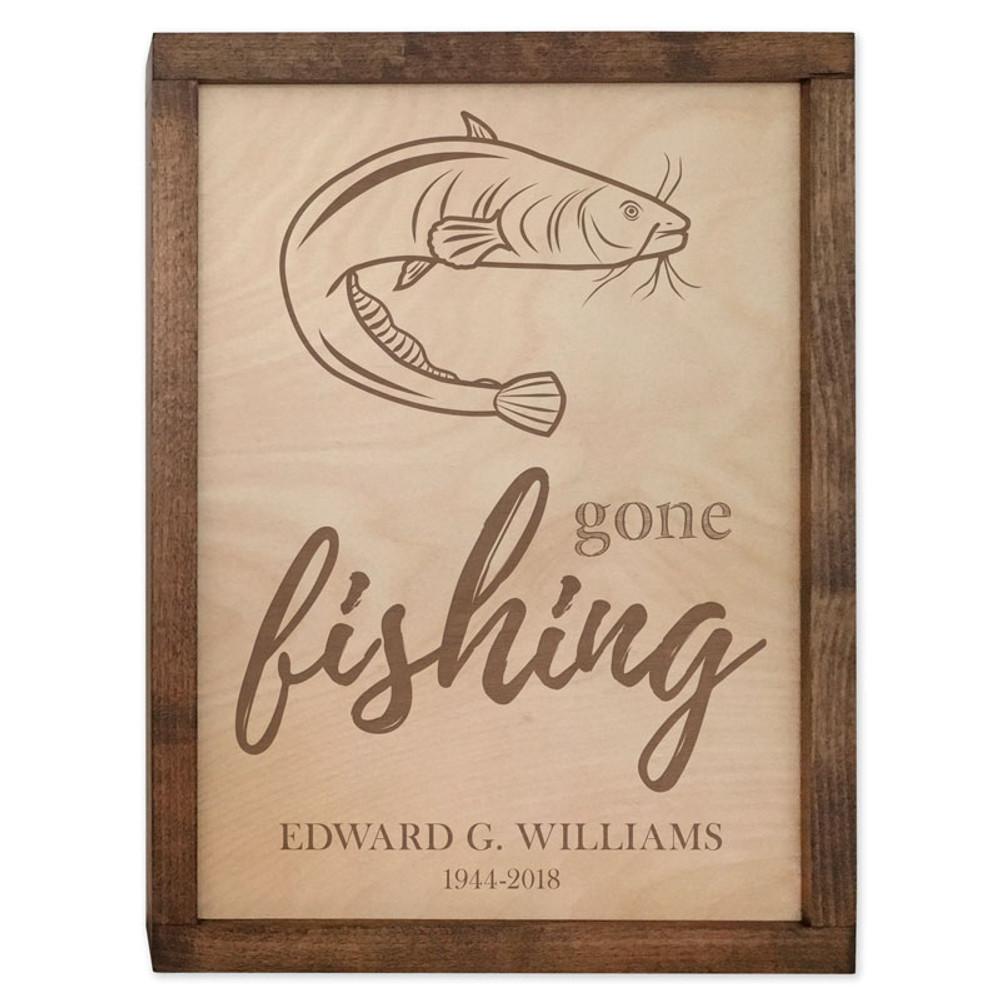 Gone Fishing Cremation Urn Plaque - Catfish