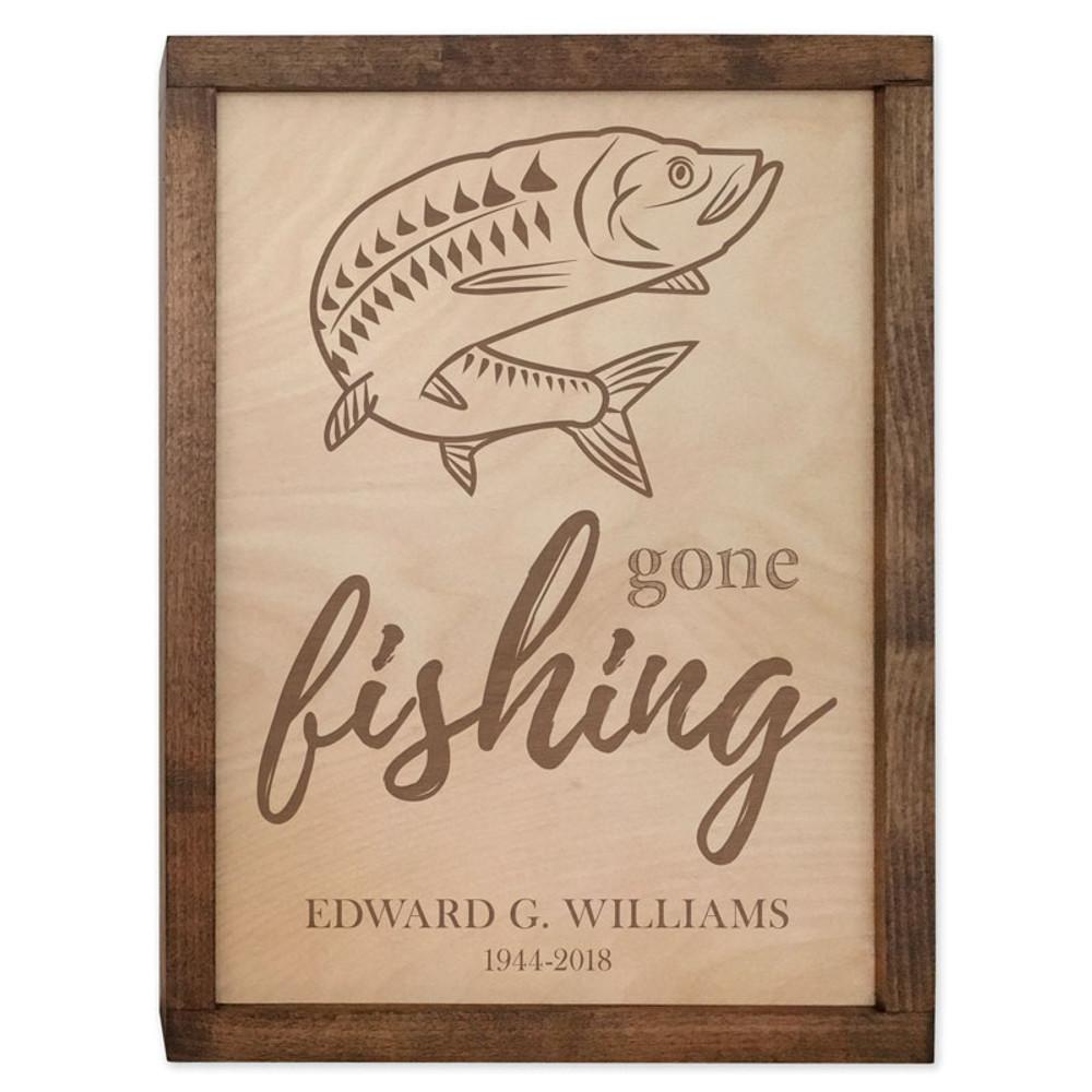 Gone Fishing Cremation Urn Plaque - Tarpon Fish Urn