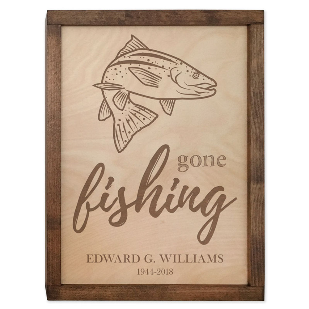 Gone Fishing Cremation Urn Plaque -  Trout Fish