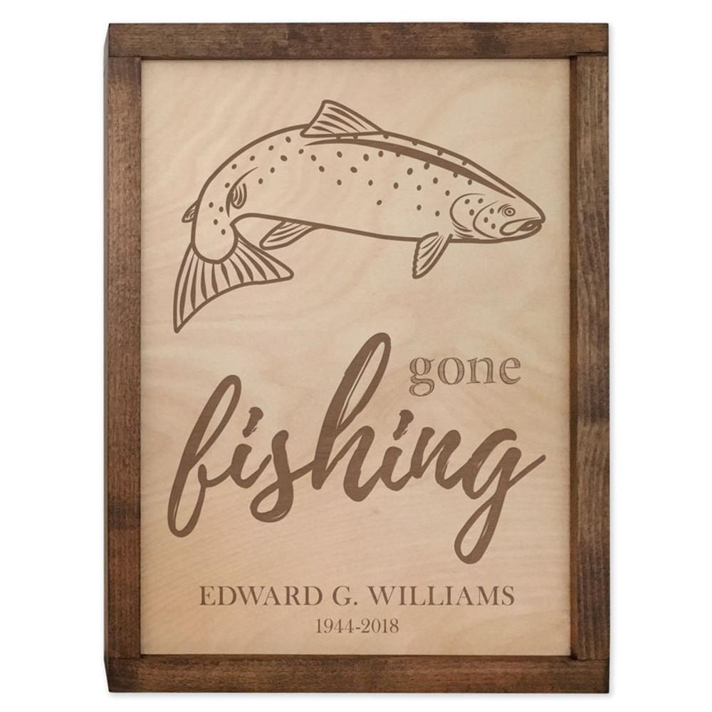 Gone Fishing Cremation Urn Plaque - Salmon Fish Urn