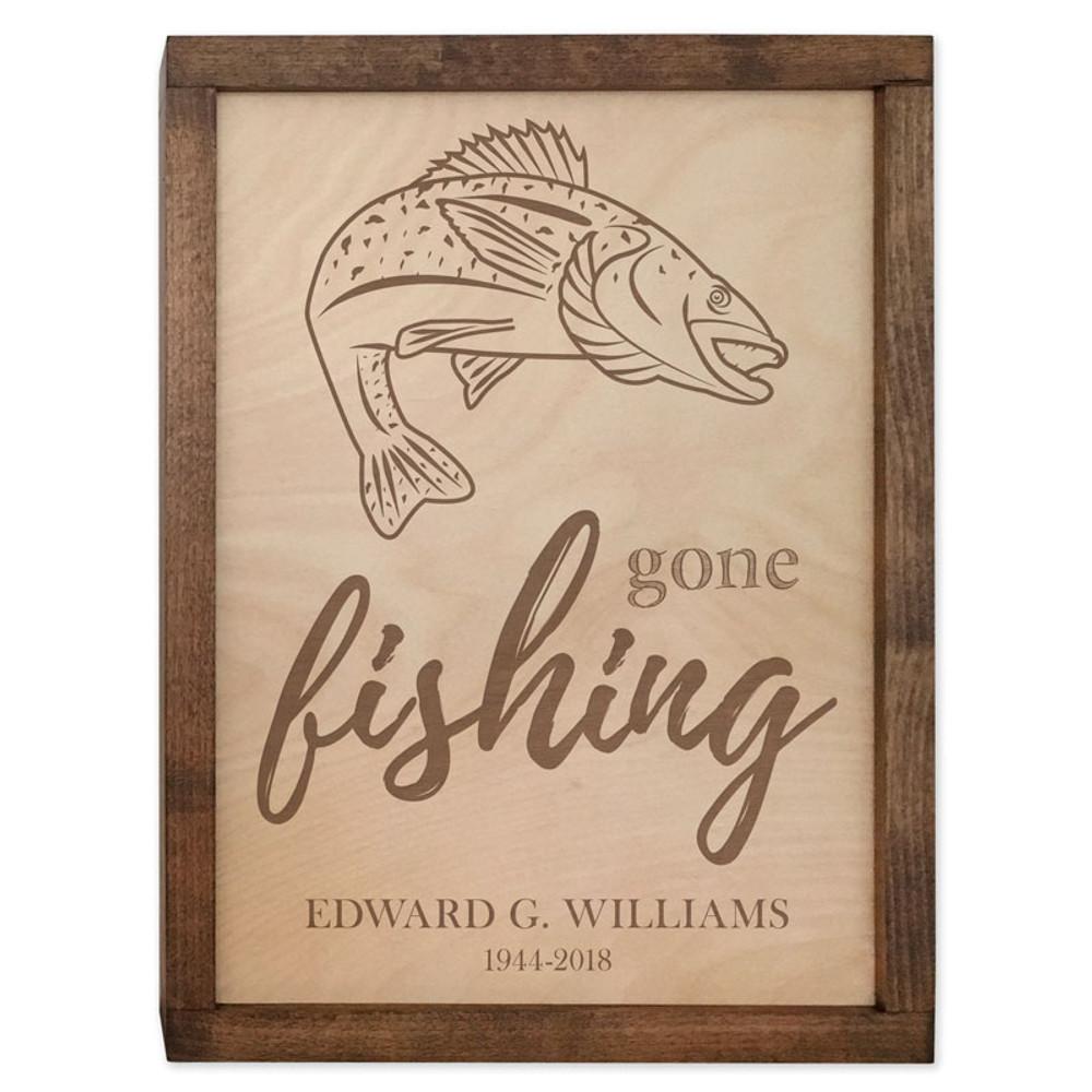 Gone Fishing Cremation Urn Plaque - Walleye Fish