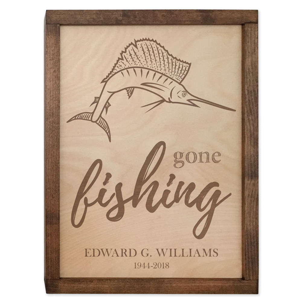 Gone Fishing Cremation Urn Plaque - Sailfish Urn