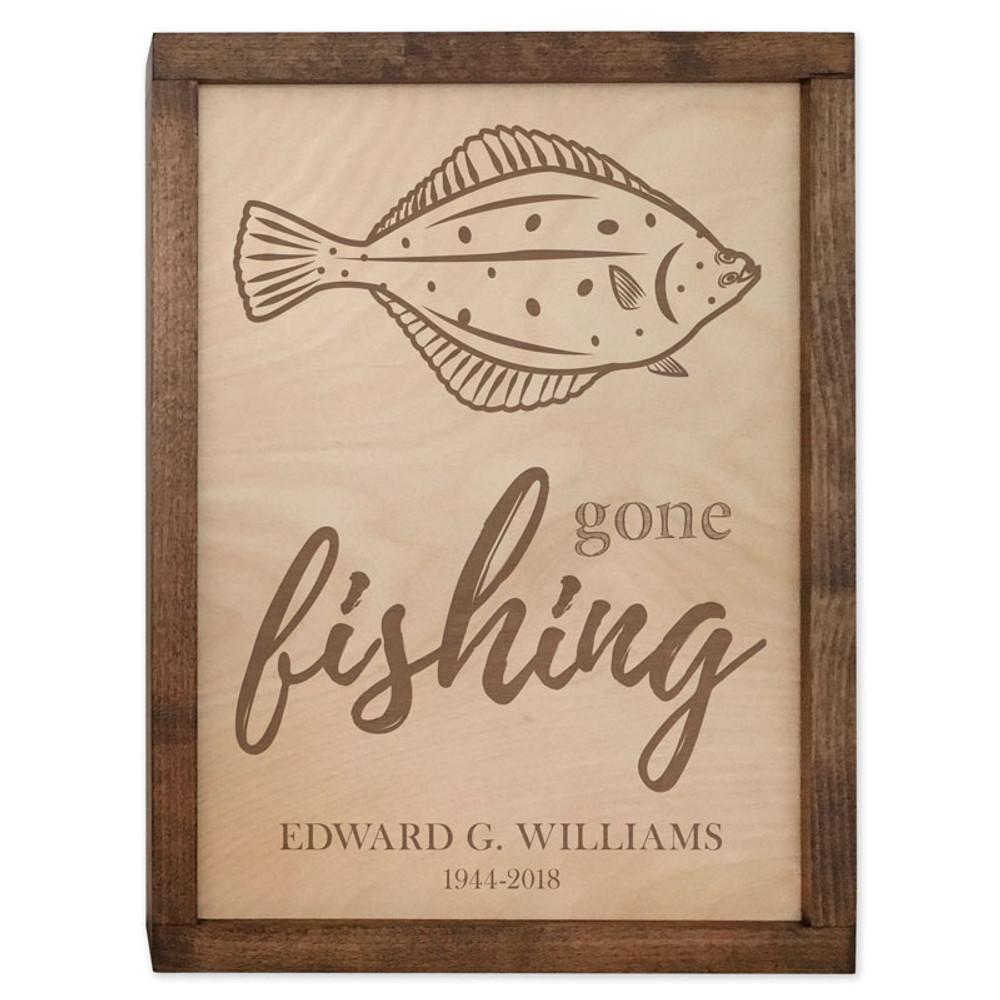 Gone Fishing Cremation Urn Plaque - Halibut Fish Urn