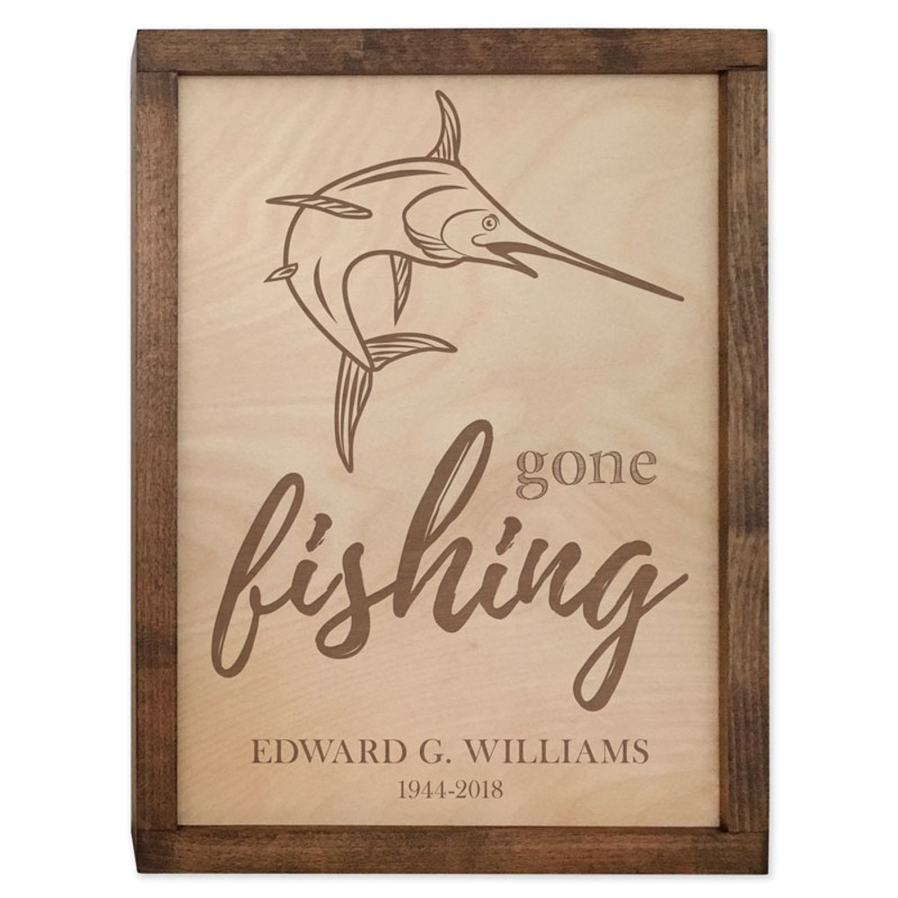 Gone Fishing Cremation Urn Plaque - Marlin Fish Urn