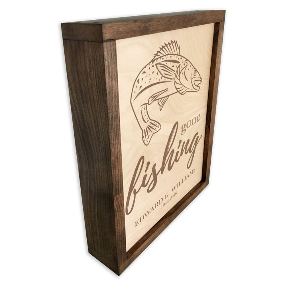 Gone Fishing Wood Cremation Urn