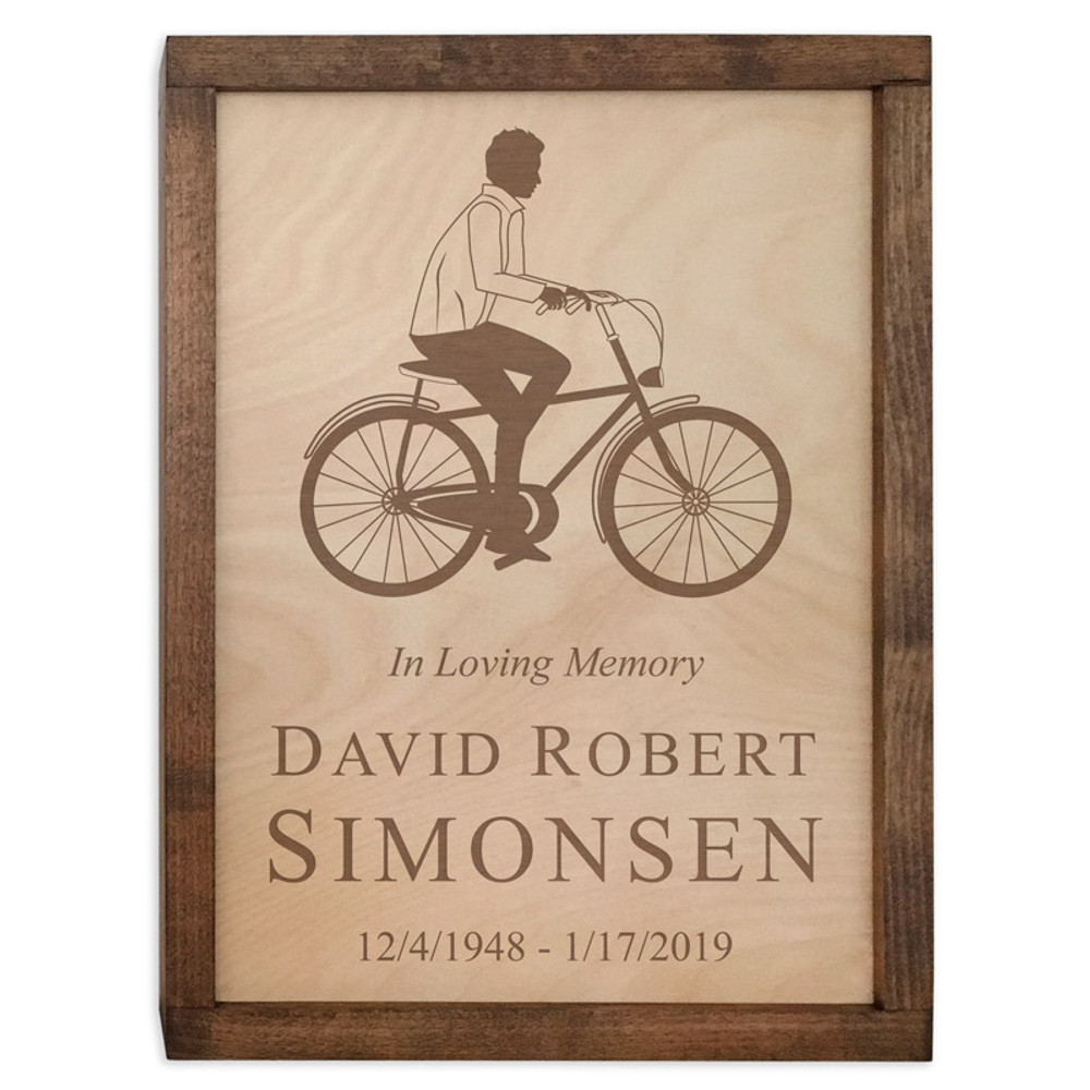 Male Cyclist Wood Cremation Urn Plaque