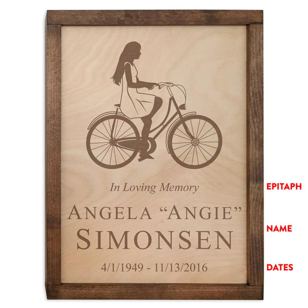 Female Cyclist Urn - Inscription Options