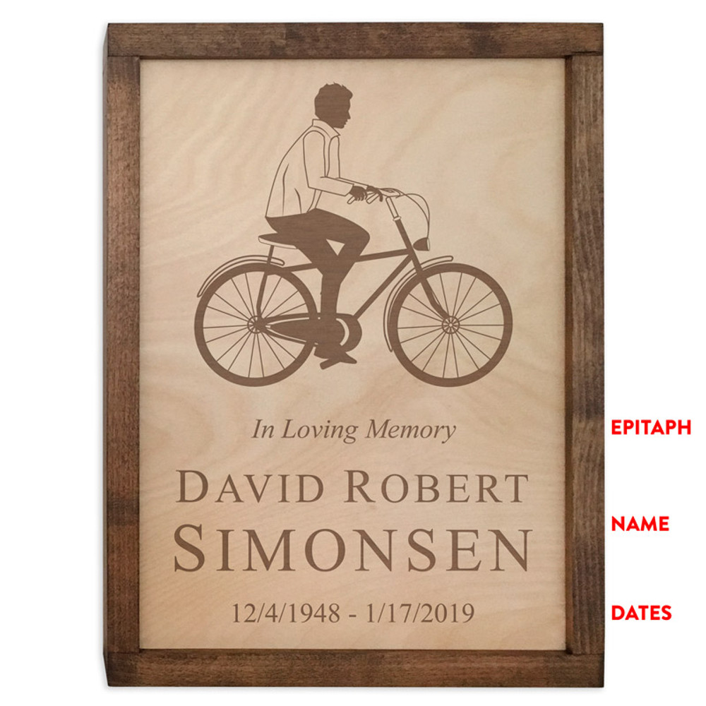 Male Cyclist Urn - Inscription Options