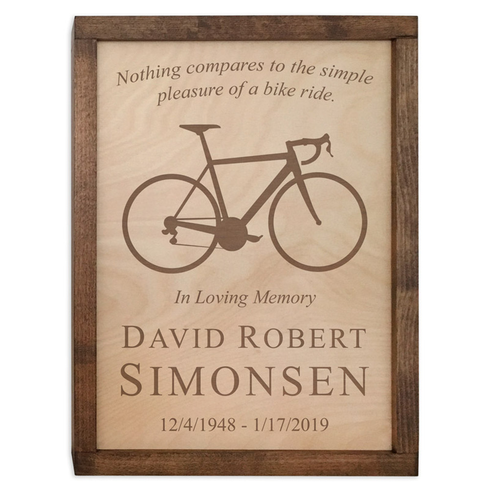 Bicycle Wall Mounted Wood Cremation Urn - Road Bike