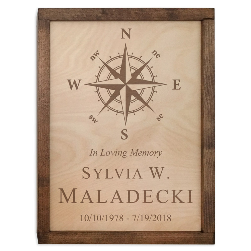 Compass Rose Wood Cremation Urn Plaque