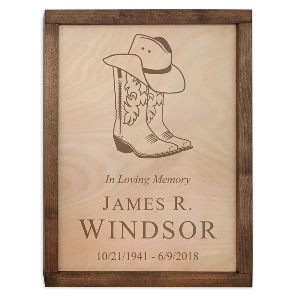 Cowboy Boots & Hat Wood Cremation Urn Plaque