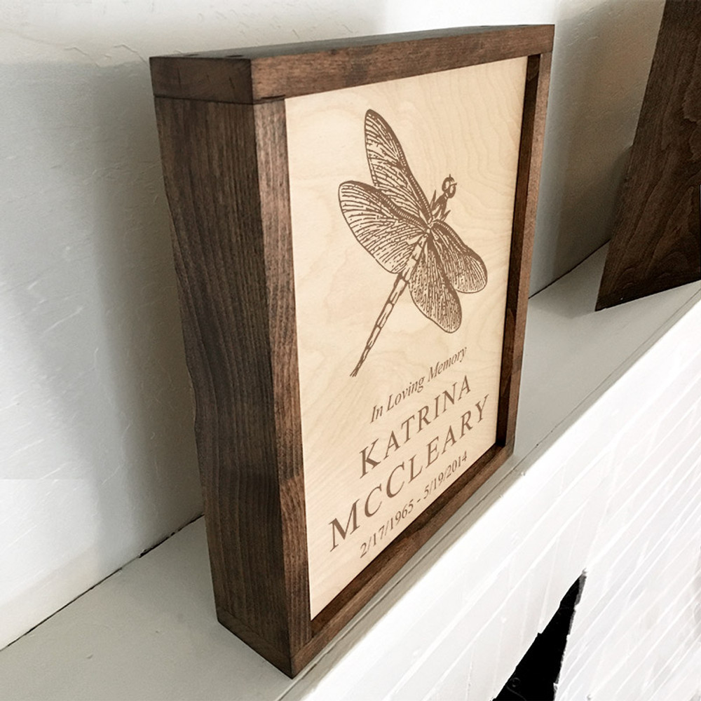 Display the Dragonfly Urn on a mantle or mount it to the wall - your choice!