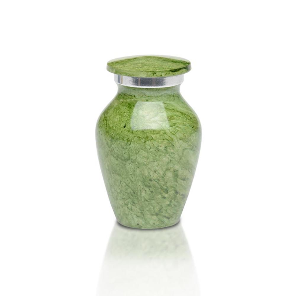 Artisan Green Metal Cremation Urn - Small Keepsake Urn (3 cubic inches)