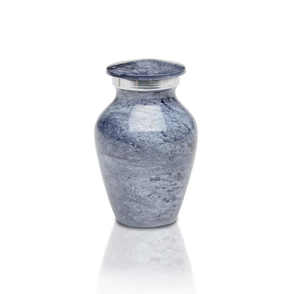 Artisan Blue-Gray Metal Cremation Urn - Small Keepsake Urn (3 cubic inches)