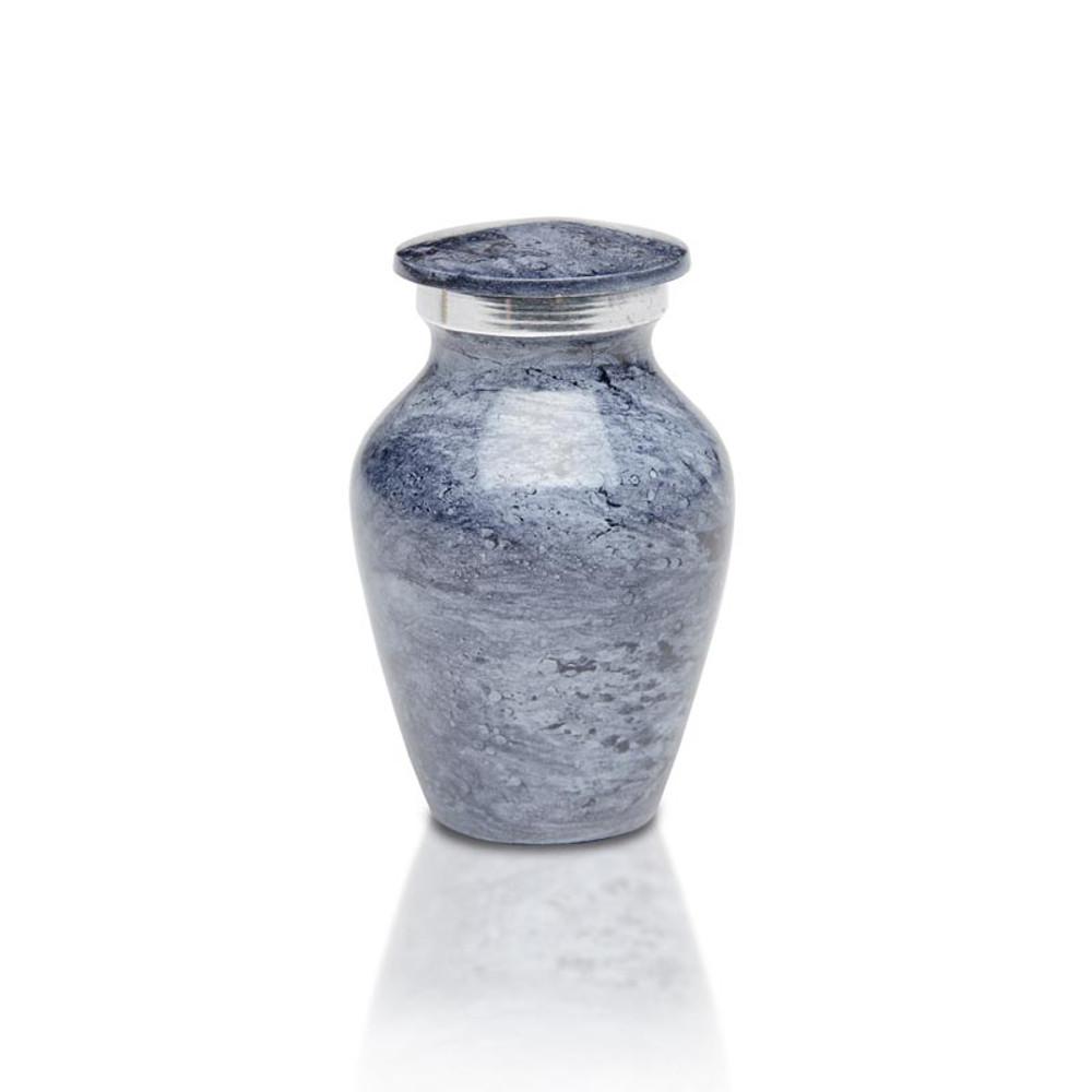 Artisan Blue-Gray Metal Cremation Urn - Small Keepsake Urn (3 cubic inches)