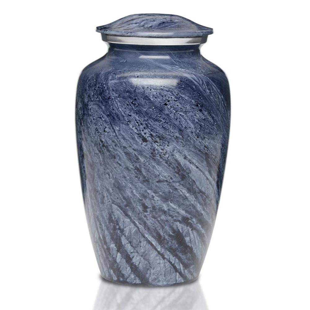 Artisan Blue-Gray Metal Cremation Urn - Adult Urn
