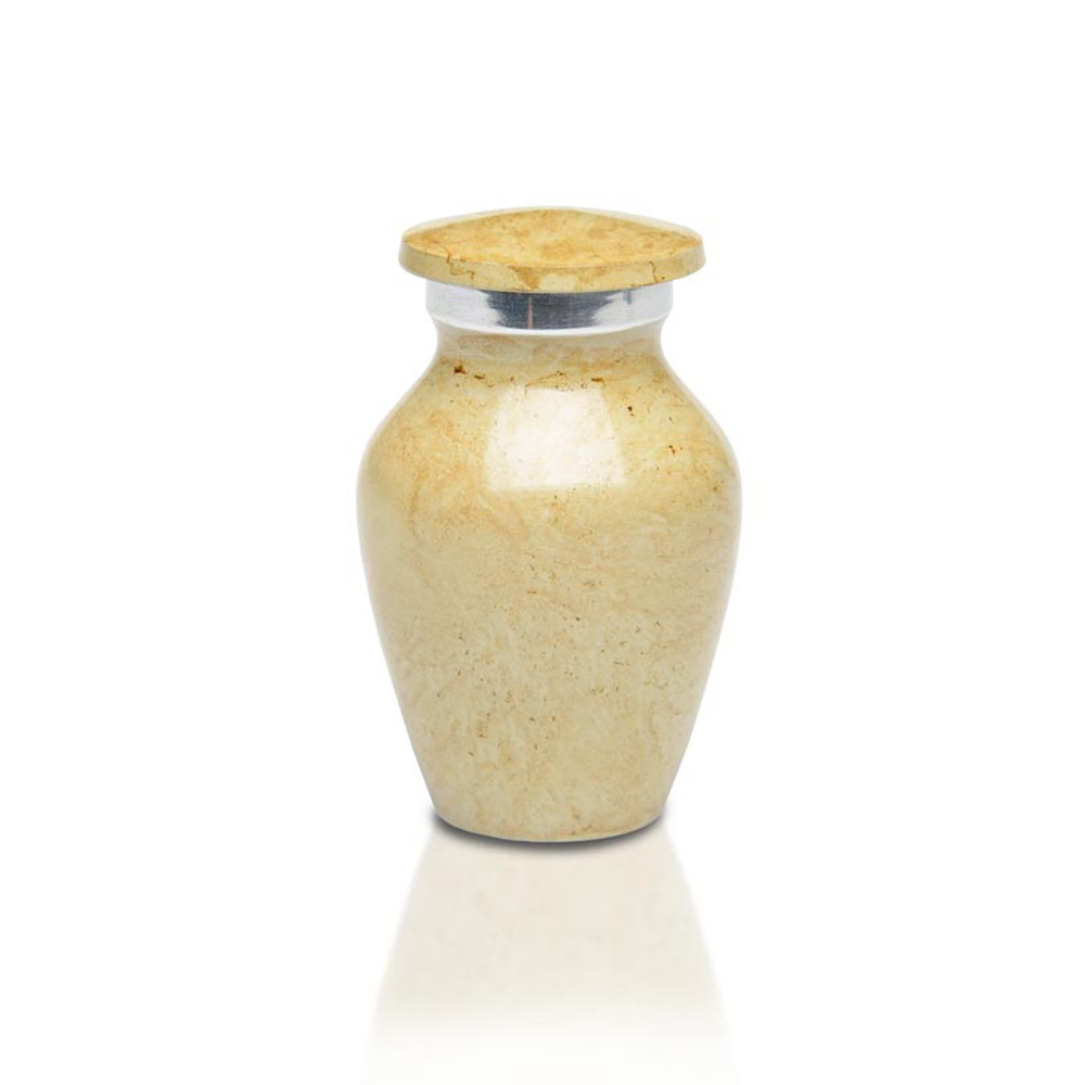 Artisan Ivory Metal Cremation Urn - Small Keepsake Urn (3 cubic inches)