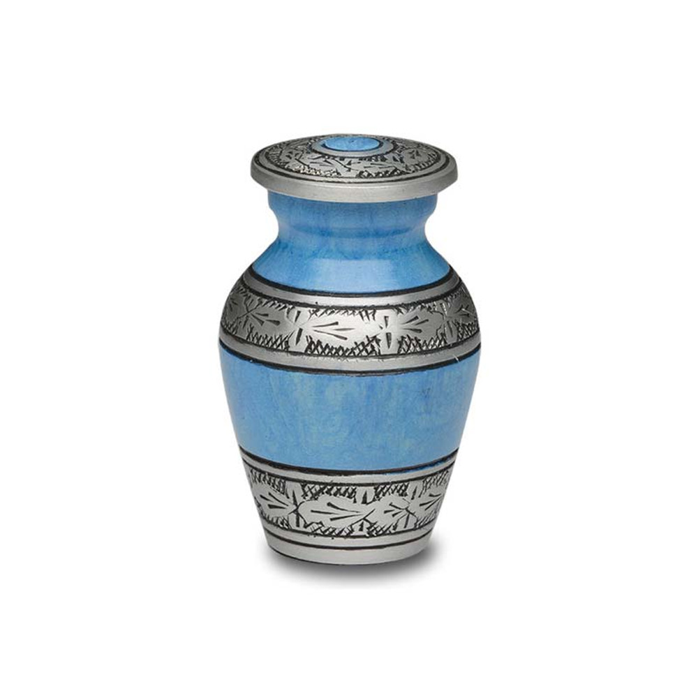 Antique Blue Metal Cremation Urn - Small Keepsake Urn (3 cubic inches)