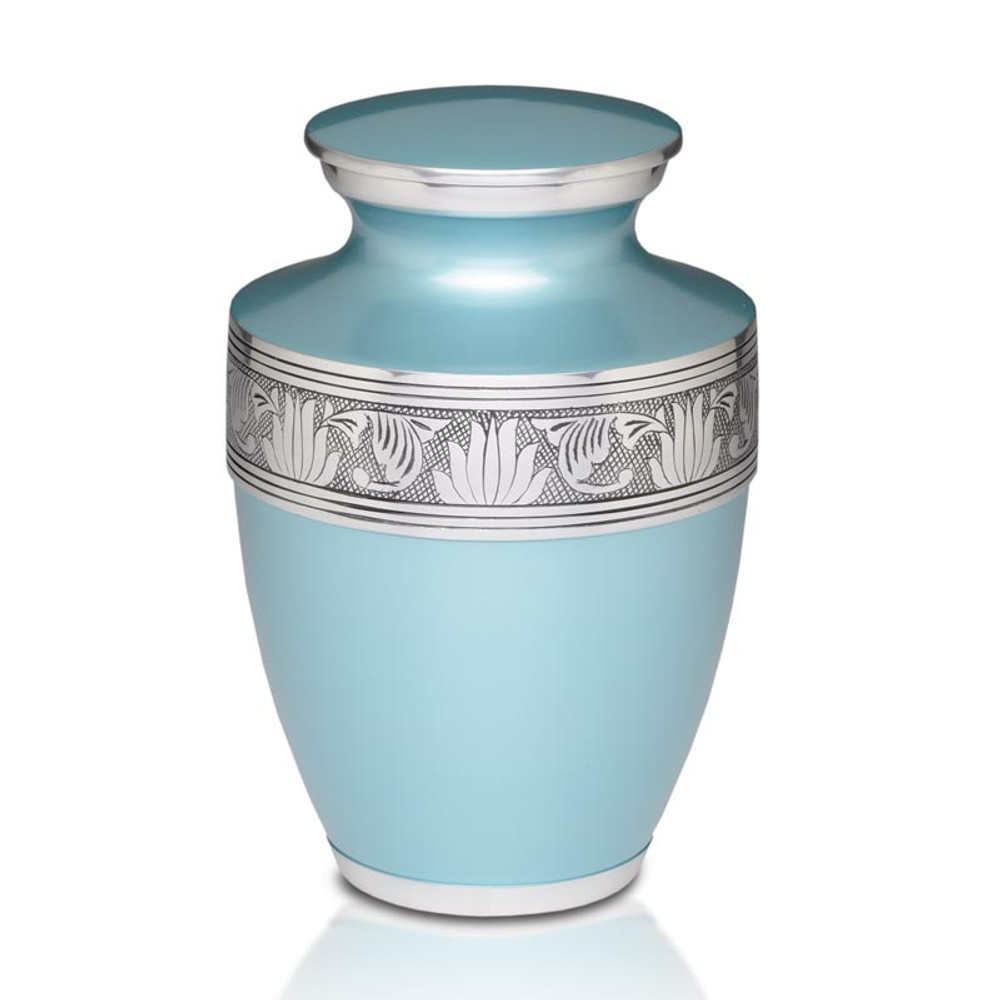Savant Metal Cremation Urn in Teal Blue