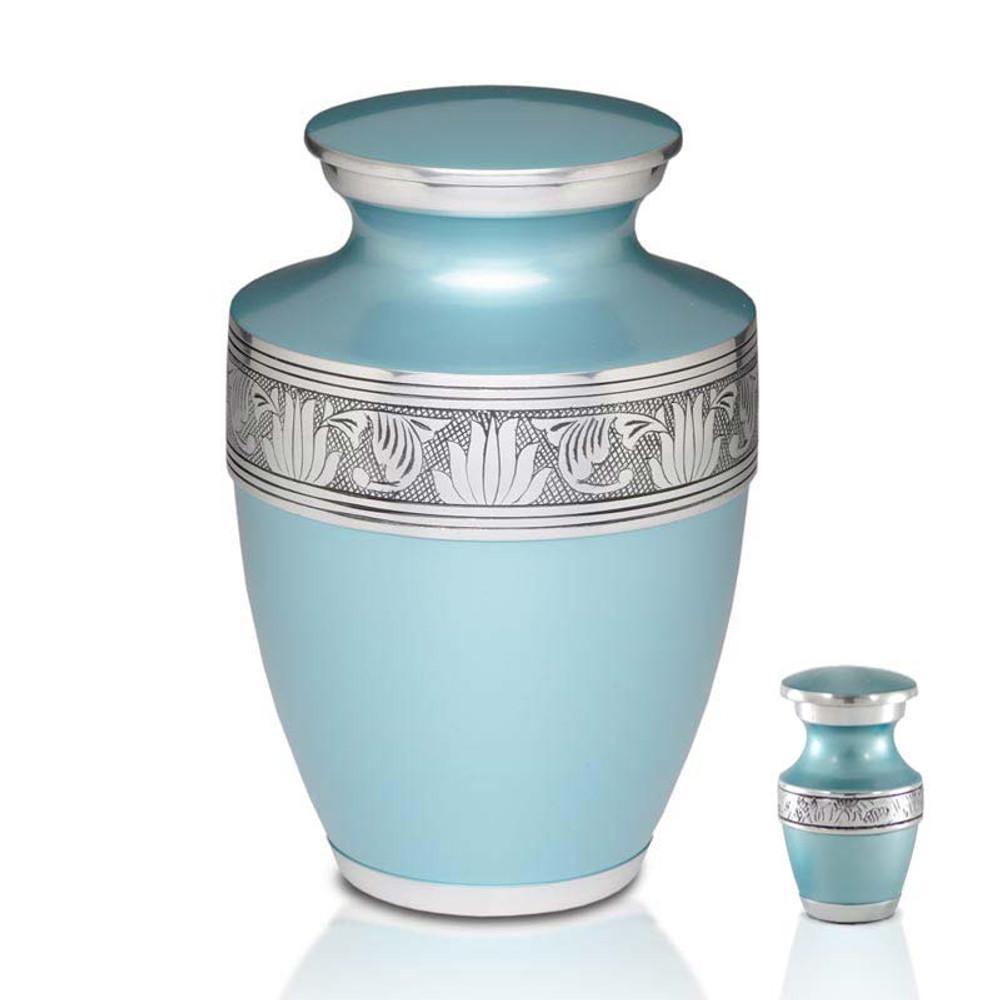 Metal Cremation Urn - Adult & Keepsake Urn Set