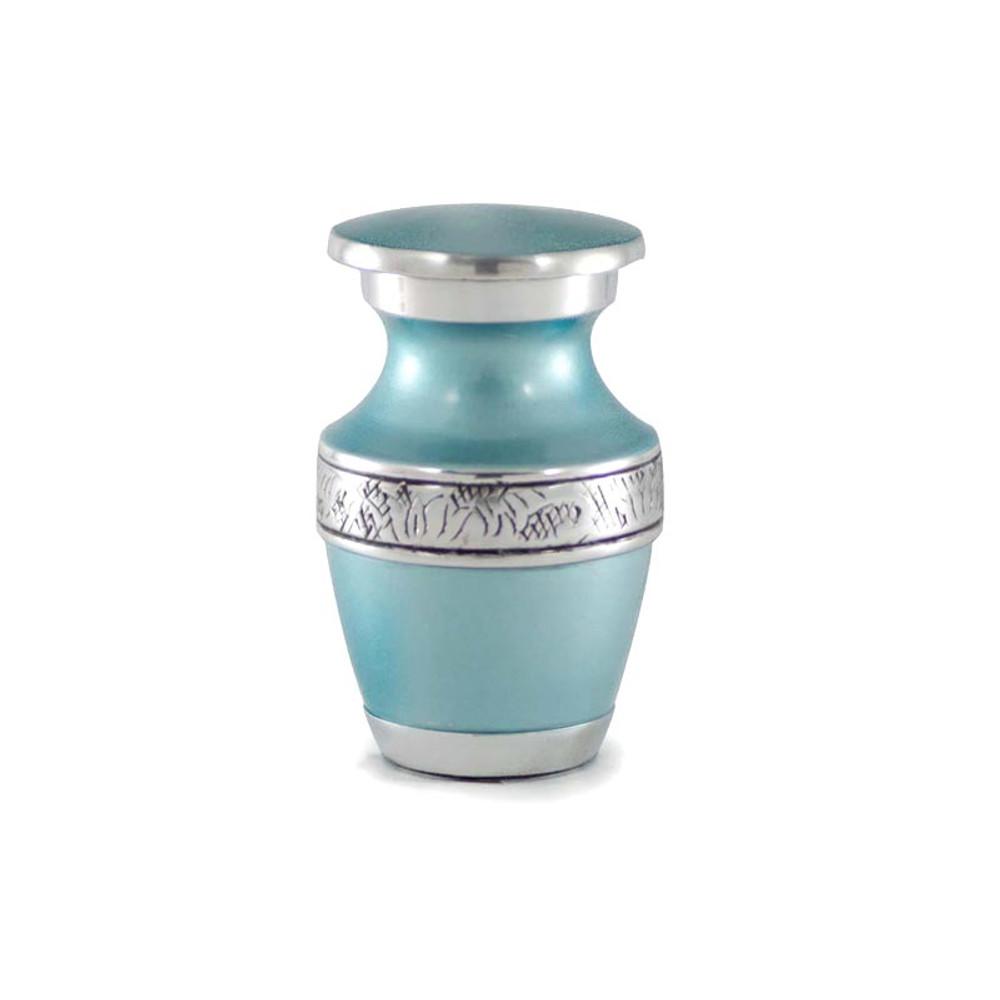 Teal Blue Metal Urn in Keepsake Size