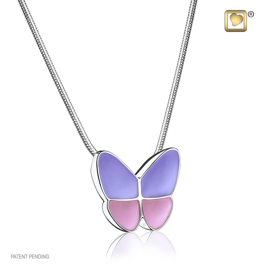 Butterfly Cremation Urn Necklace in Lavender - Includes necklace chain