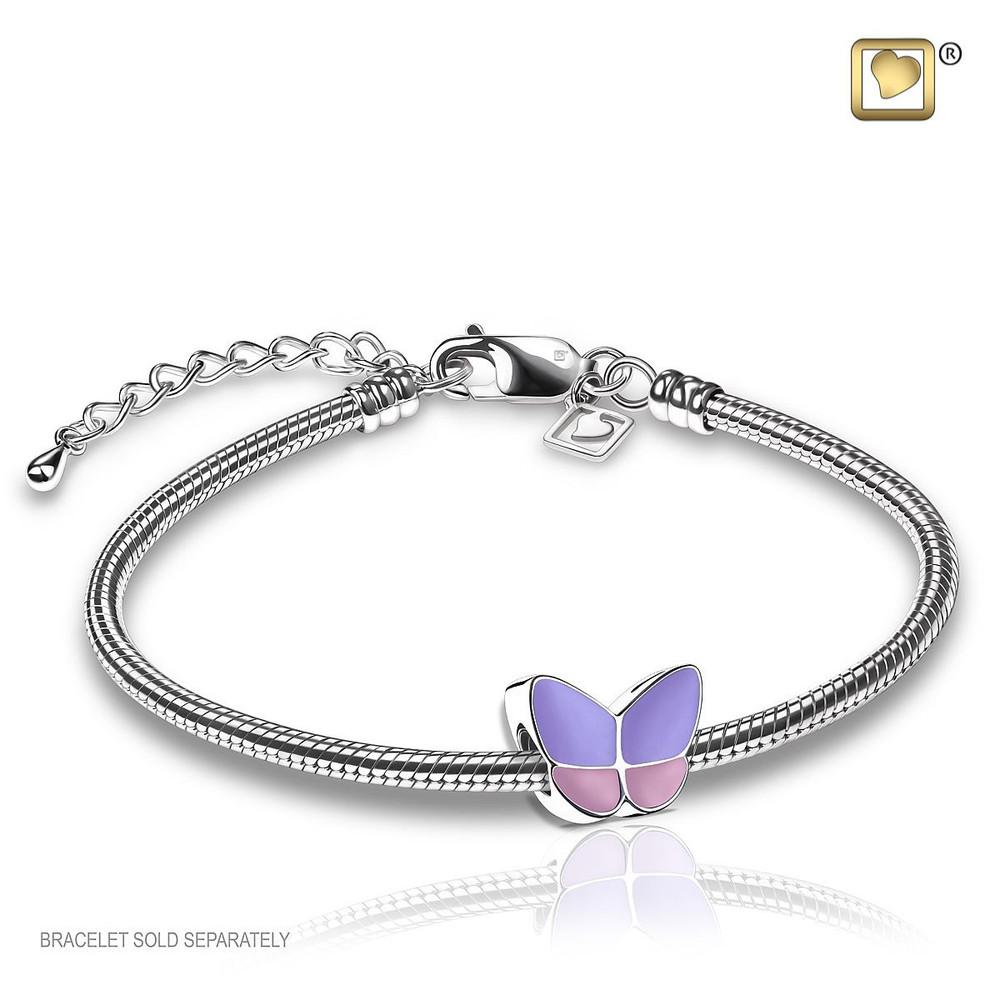 Butterfly Cremation Urn Bracelet in Lavender - Includes bracelet chain