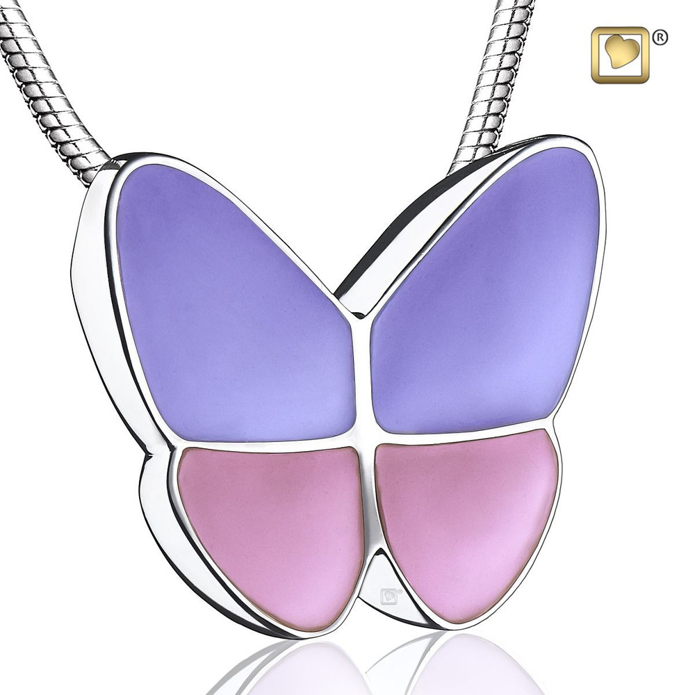 Butterfly Cremation Urn Necklace in Lavender - Pendant