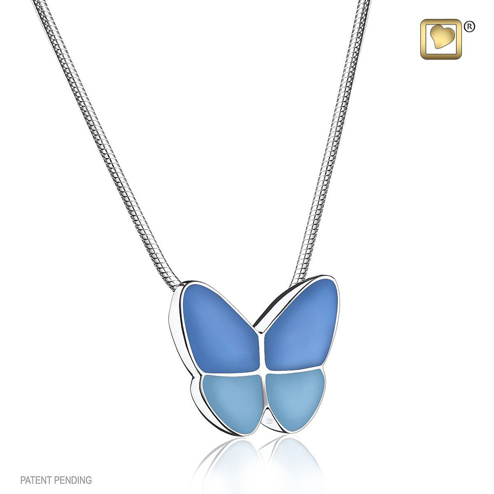 Butterfly Cremation Urn Necklace in Blue - Includes necklace chain