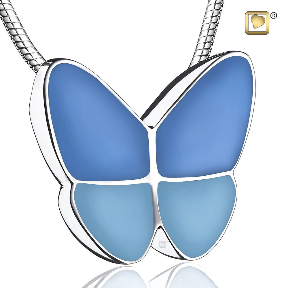 Butterfly Cremation Urn Necklace in Blue - Pendant