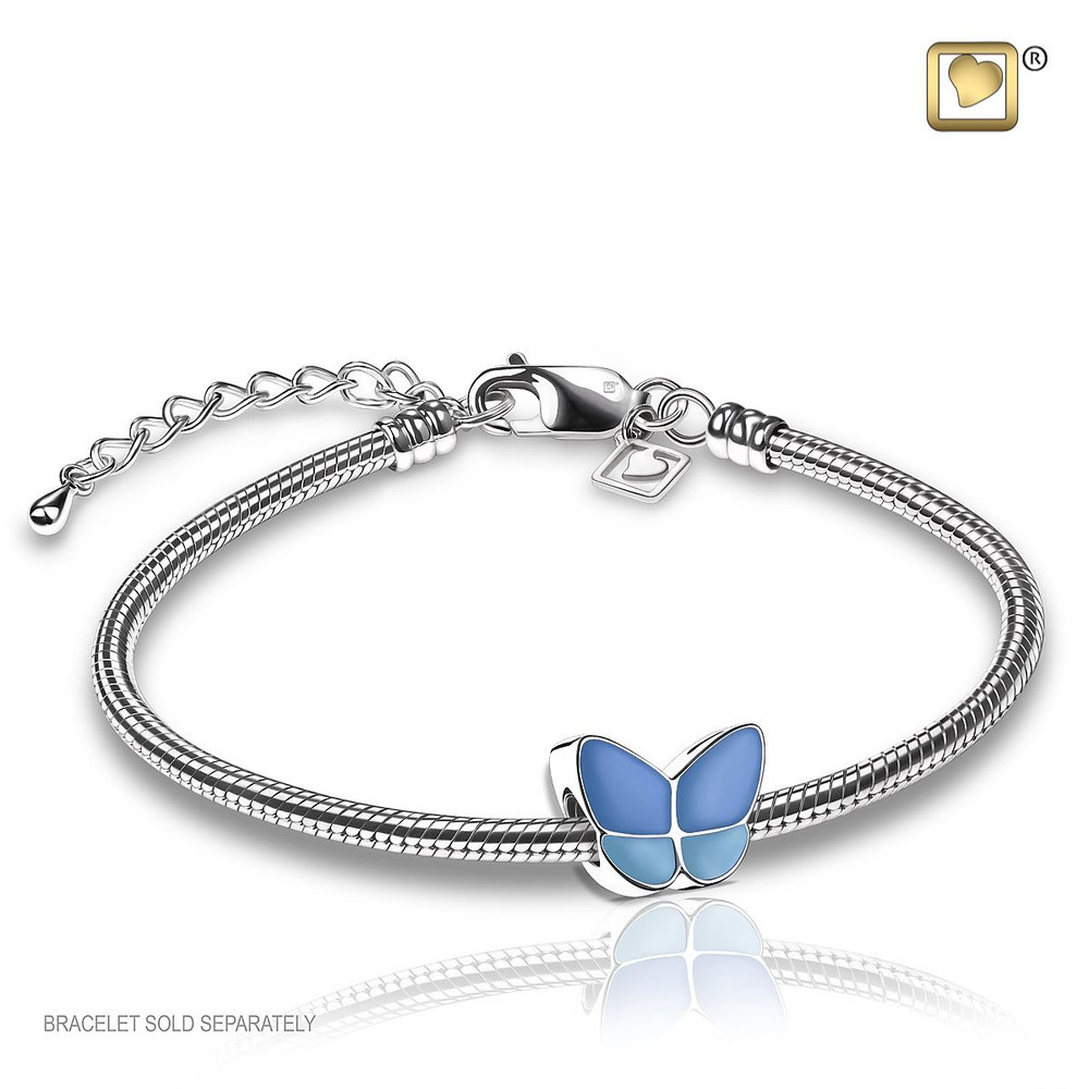 Butterfly Cremation Urn Bracelet in Blue - Includes bracelet chain