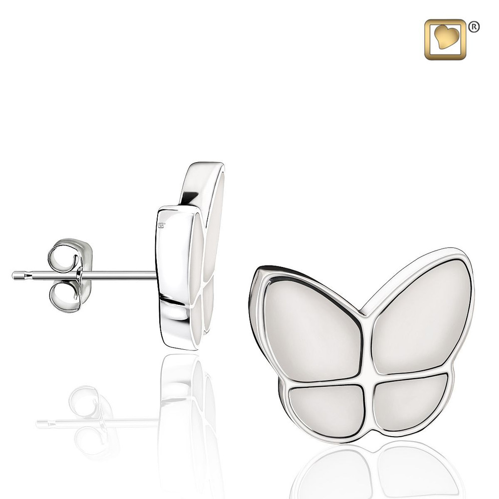 Butterfly Memorial Earrings in Pearl White - These do not hold remains
