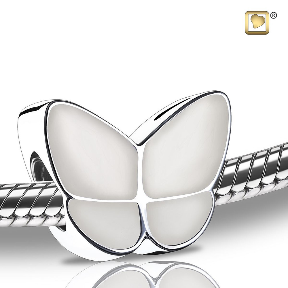 Butterfly Cremation Urn Bracelet in Pearl - Bead
