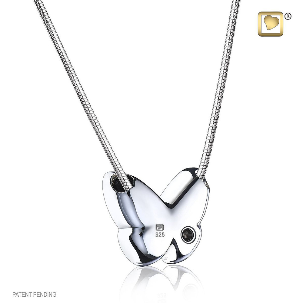 Butterfly Cremation Urn Necklace in White - Back opening for remains
