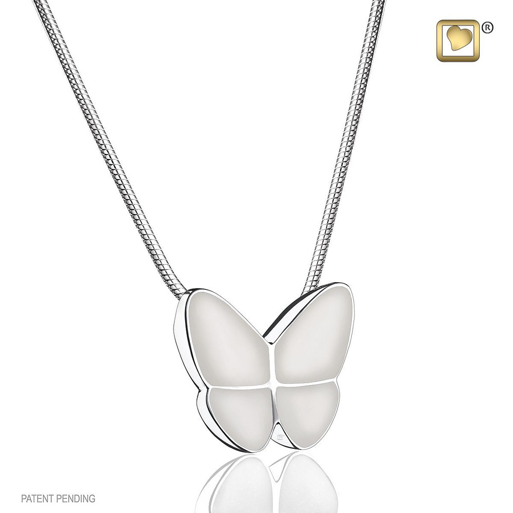 Butterfly Cremation Urn Necklace in White - Includes necklace chain